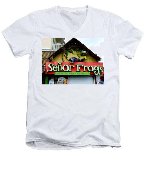 Senor Frogs Men's V-Neck T-Shirt by Michiale Schneider
