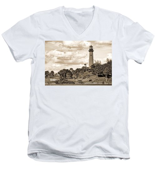 Sepia Lighthouse Men's V-Neck T-Shirt