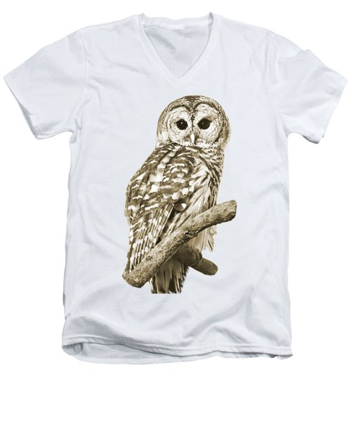 Sepia Owl Men's V-Neck T-Shirt