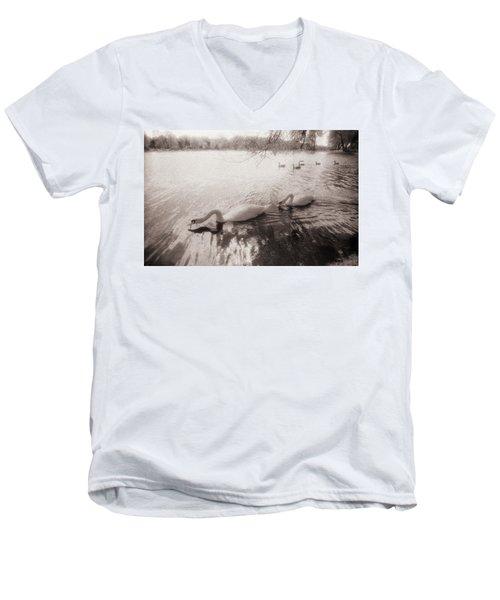 Sepia Swans Men's V-Neck T-Shirt