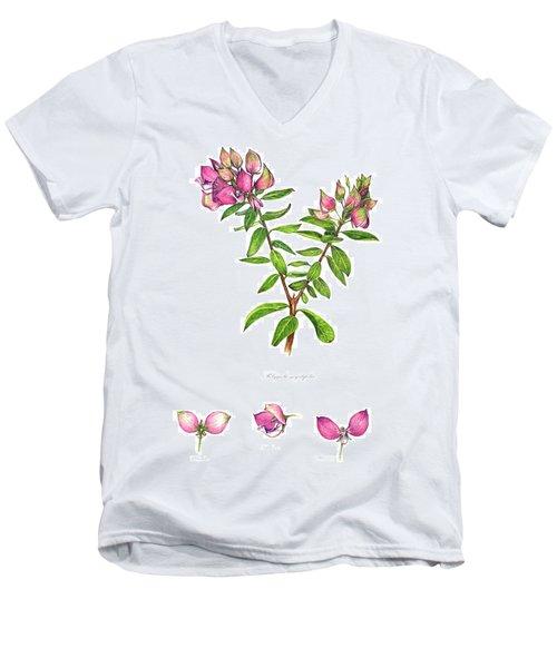 Men's V-Neck T-Shirt featuring the painting Septemberbossie  Polygala Myrtifolia by Heidi Kriel