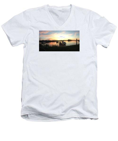 Serene Sunset Men's V-Neck T-Shirt by Rebecca Wood