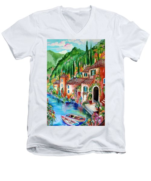 Men's V-Neck T-Shirt featuring the painting Serenity By The Lake by Roberto Gagliardi