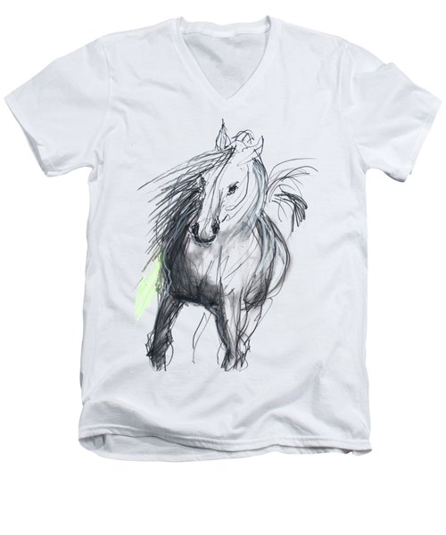 Men's V-Neck T-Shirt featuring the mixed media Sergei by Carolyn Weltman