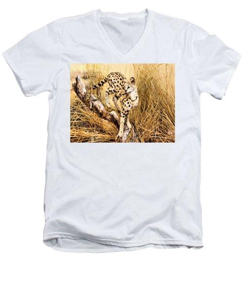 Serval Men's V-Neck T-Shirt by Kristin Elmquist