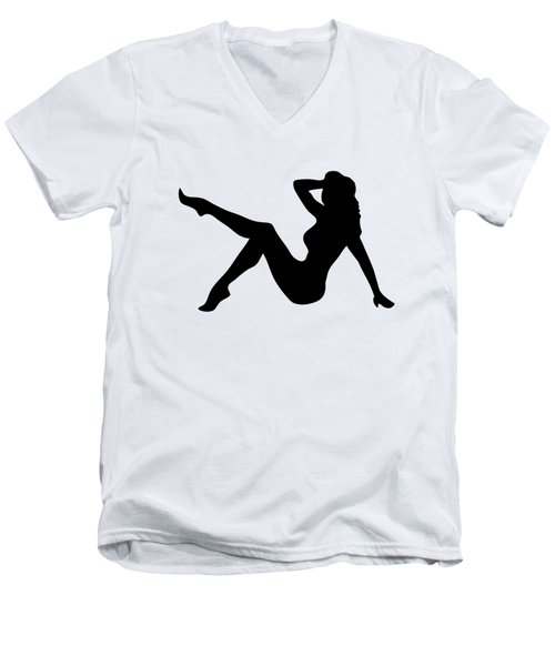 Sexy Trucker Girl Tee Men's V-Neck T-Shirt by Edward Fielding