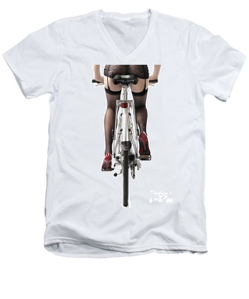 Sexy Woman Riding A Bike Men's V-Neck T-Shirt