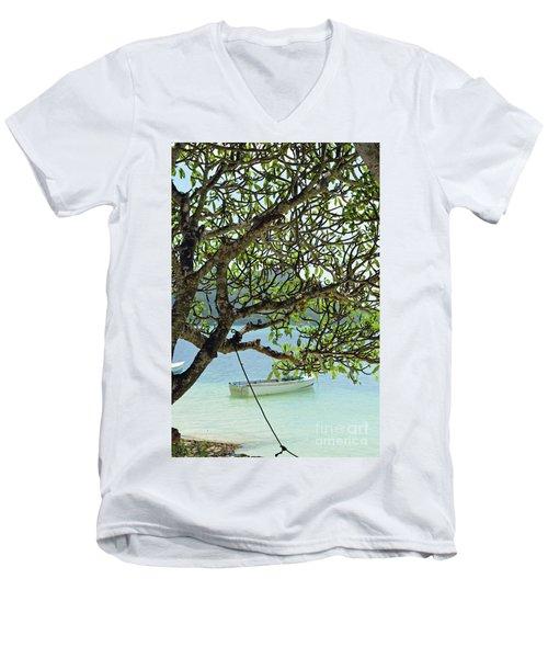 Men's V-Neck T-Shirt featuring the digital art Seychelles Island by Eva Kaufman