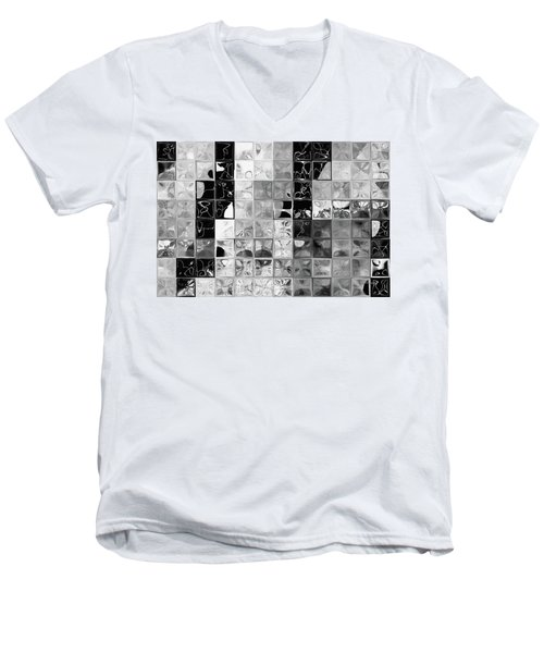 Shades Of Gray Tile Mosaic. Tile Art Painting Men's V-Neck T-Shirt by Mark Lawrence