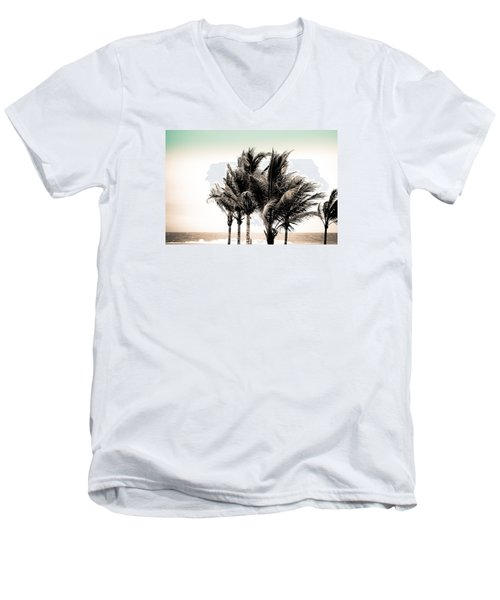 Shades Of Palms - Aqua Brown Men's V-Neck T-Shirt by Colleen Kammerer