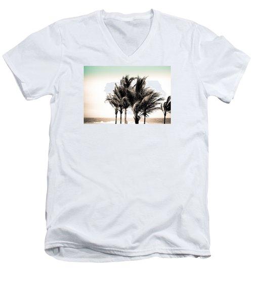 Shades Of Palms - Aqua Brown Men's V-Neck T-Shirt