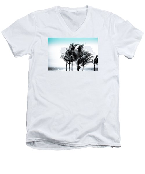 Shades Of Palms - Silver Blue Men's V-Neck T-Shirt by Colleen Kammerer
