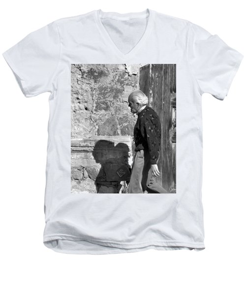 Men's V-Neck T-Shirt featuring the photograph Shadow Of A Man by Jim Walls PhotoArtist