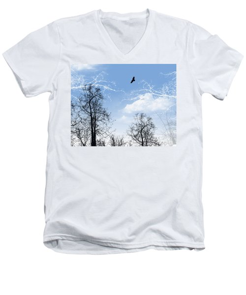 Men's V-Neck T-Shirt featuring the painting Shadow by Trilby Cole