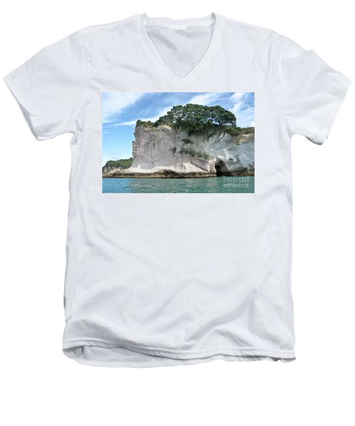 Men's V-Neck T-Shirt featuring the photograph Shakespeare Rock, New Zealand by Yurix Sardinelly