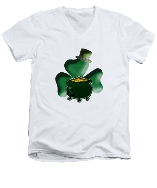 Shamrock And Pot Of Gold Men's V-Neck T-Shirt