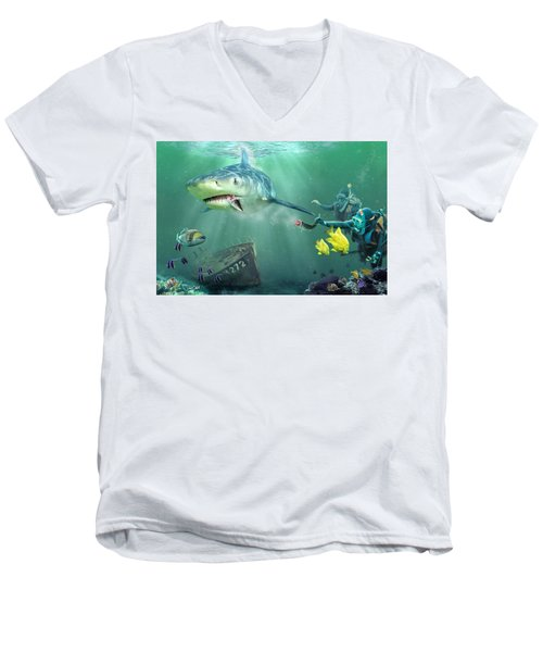 Men's V-Neck T-Shirt featuring the photograph Shark Bait by Don Olea
