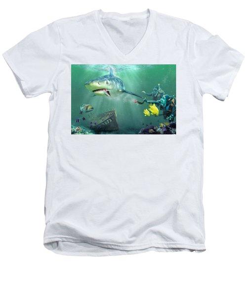 Shark Bait Men's V-Neck T-Shirt by Don Olea