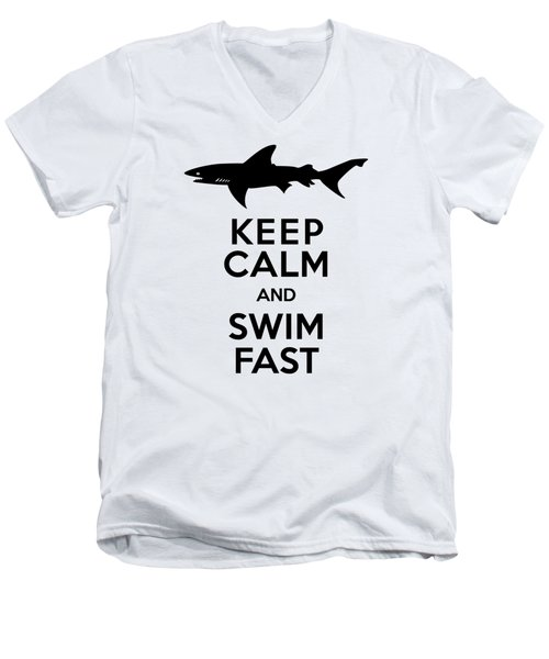 Sharks Keep Calm And Swim Fast Men's V-Neck T-Shirt by Antique Images