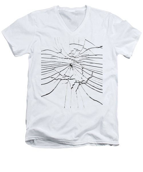 Men's V-Neck T-Shirt featuring the photograph Shattered Glass - Cracks And Shards by Michal Boubin