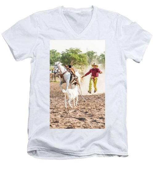 Shawnee Sagers Goat Roping Competition Men's V-Neck T-Shirt
