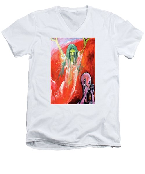 Men's V-Neck T-Shirt featuring the painting She-angel by Kenneth Agnello