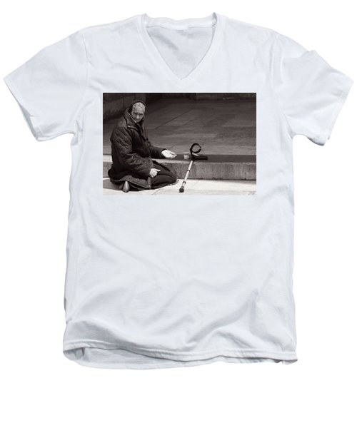 Men's V-Neck T-Shirt featuring the photograph She Begs At The Cathedral by Lorraine Devon Wilke