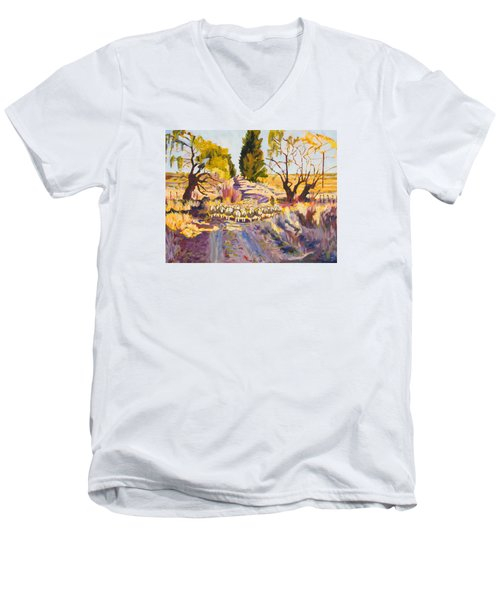 Men's V-Neck T-Shirt featuring the painting Sheep And Shepherd At Sunset Oil Painting Bertram Poole by Thomas Bertram POOLE