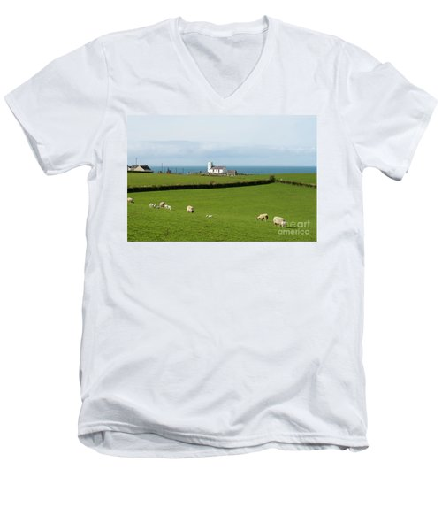 Men's V-Neck T-Shirt featuring the photograph Sheep Grazing On Irish Coastline by Juli Scalzi