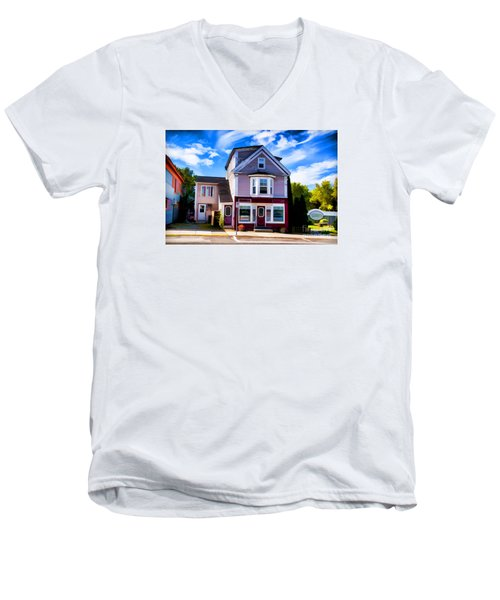 Men's V-Neck T-Shirt featuring the photograph Shelbourne Bakery by Rick Bragan