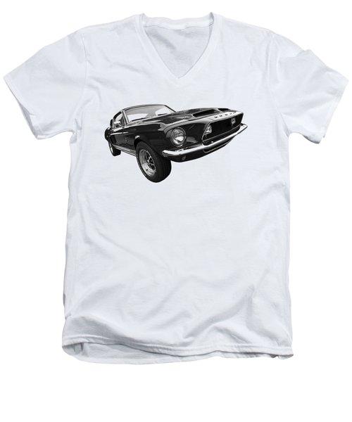 Shelby Gt500kr 1968 In Black And White Men's V-Neck T-Shirt by Gill Billington