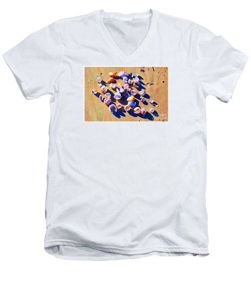 Men's V-Neck T-Shirt featuring the photograph Shell Collection by Roberta Byram
