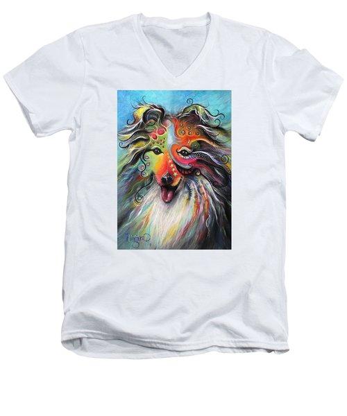 Sheltie  Men's V-Neck T-Shirt by Patricia Lintner