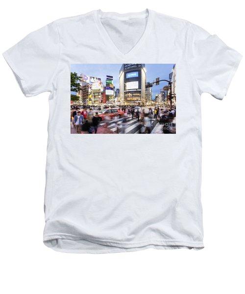 Shibuya Crossing At Night In Tokyo Men's V-Neck T-Shirt