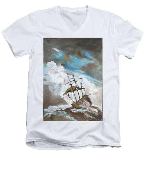 Ship In Need Men's V-Neck T-Shirt by Carole Robins