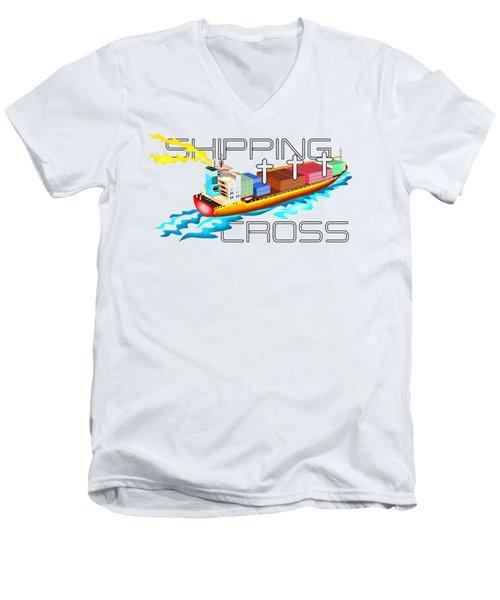 Shipping Cross Men's V-Neck T-Shirt