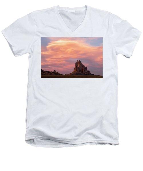 Shiprock At Sunset Men's V-Neck T-Shirt