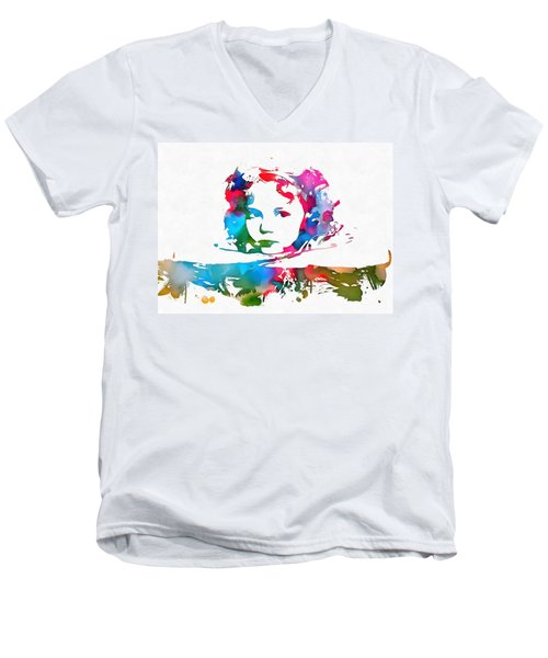 Shirley Temple Watercolor Paint Splatter Men's V-Neck T-Shirt by Dan Sproul