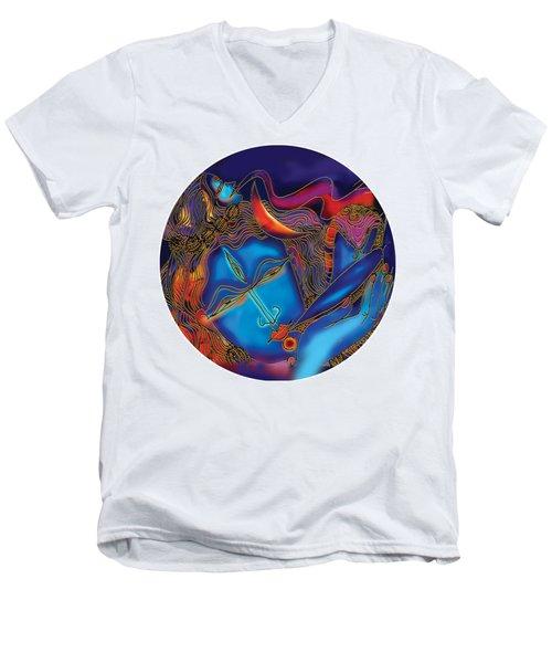 Shiva Blowing The Horn Men's V-Neck T-Shirt