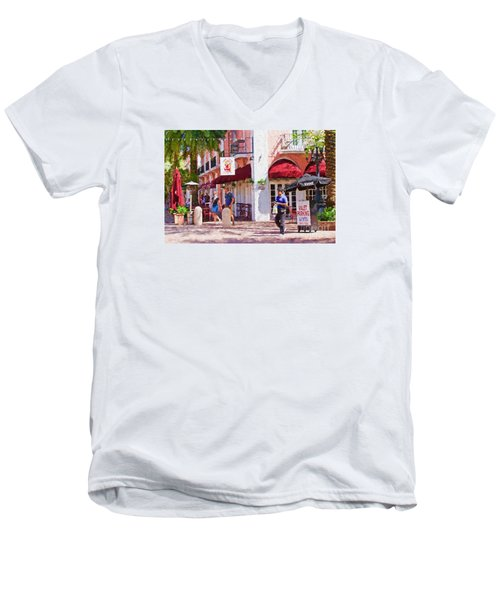 Men's V-Neck T-Shirt featuring the painting Shop Til You Drop  by Judy Kay