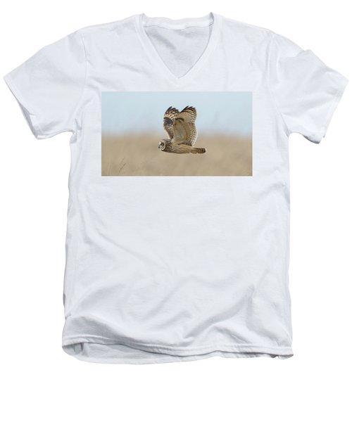 Short-eared Owl Hunting Men's V-Neck T-Shirt
