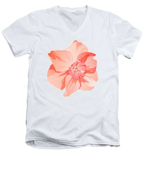 Short Trumpet Daffodil In Warm Pink Men's V-Neck T-Shirt