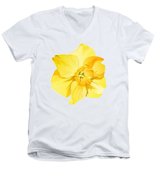 Men's V-Neck T-Shirt featuring the digital art Short Trumpet Daffodil In Yellow by MM Anderson