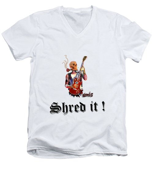 Shred It Skull Guitarist Version 2 Men's V-Neck T-Shirt