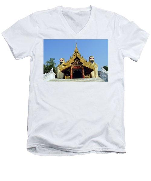 Men's V-Neck T-Shirt featuring the digital art Shwedagon Pagoda 4 by Eva Kaufman