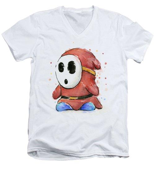 Shy Guy Watercolor Men's V-Neck T-Shirt