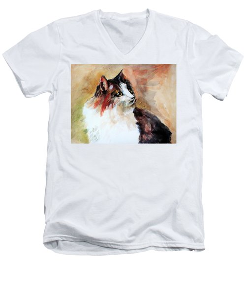 Siberian Forest Cat Men's V-Neck T-Shirt by Khalid Saeed