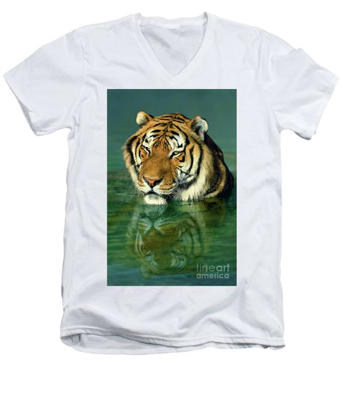 Siberian Tiger Reflection Wildlife Rescue Men's V-Neck T-Shirt
