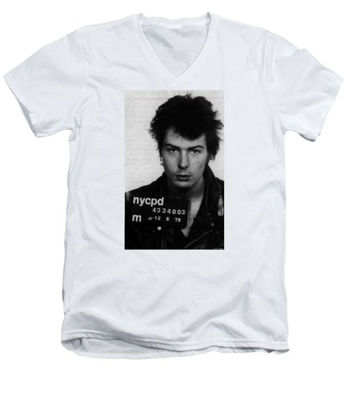 Sid Vicious Mug Shot Vertical Men's V-Neck T-Shirt
