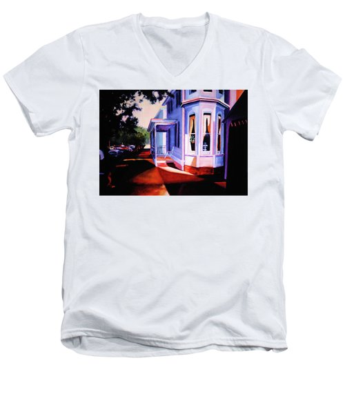 Men's V-Neck T-Shirt featuring the painting Side Street - Lambertville by Robert Henne